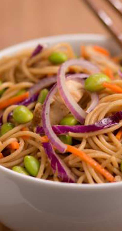 A refreshing light pasta salad with a delicious Asian flair. Great for a summer cookout or picnic.