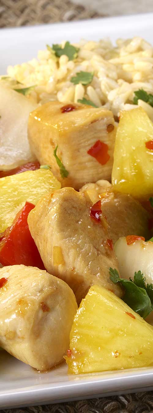 A deliciously sweet and savory dish featuring chicken, fresh pineapple and red bell peppers. #chickenrecipe #thaifood #thaichicken