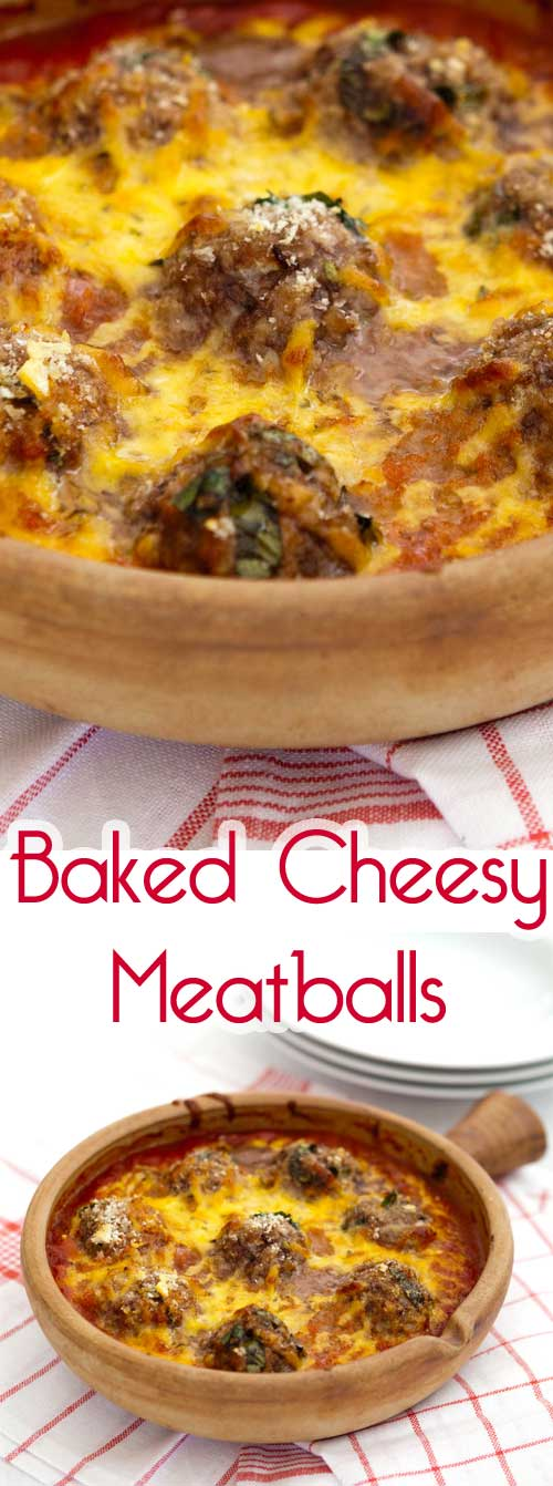 Mouth watering baked cheesy meatballs make for a quick and easy way to enjoy meatballs that are cheesy and creamy but layered with the flavor. #meatballrecipe #easydinner #porkrecipe