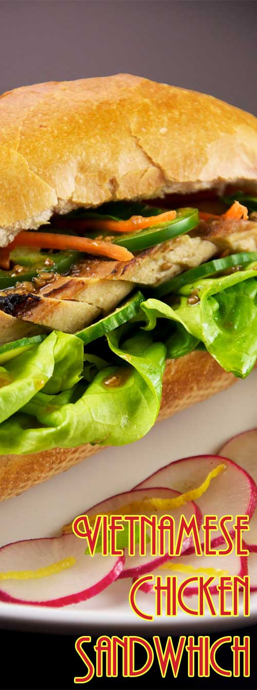 Looking for the PERFECT sandwich? This Vietnamese chicken sandwich is stuffed with tender sliced chicken, pickled veggies, and cilantro. It is sandwich heaven! #chickensandwich #asianrecipe #vietnamesefood #bahnmi