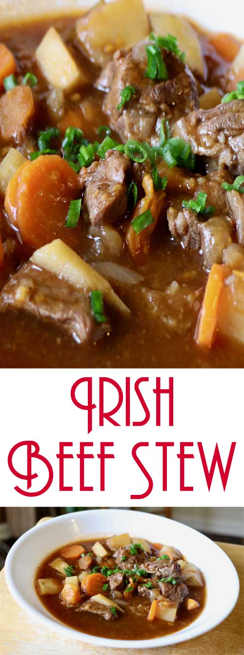 This hearty and healthier Irish beef stew may be better for you, but it does not sacrifice any flavor. Simmering about 2 hours makes the meat and veggies tender and delicious. #irishrecipe #beefstew #healthystew #stpatricksday