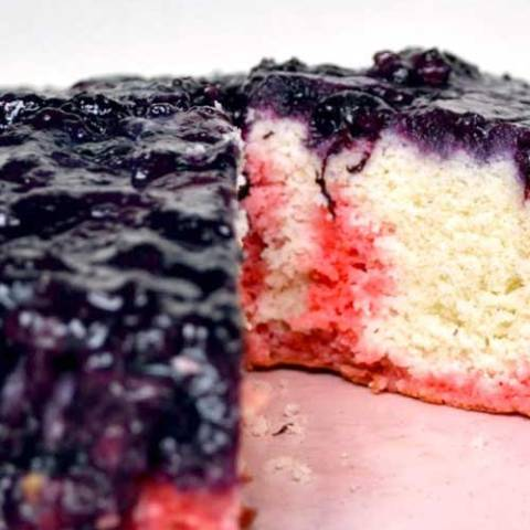 Recipe for Blueberry Upside Down Cake - Upside down cakes are not just for pineapples any more! This blueberry upside down cake is slightly sweet and oh so decadent with it's thick, jam-like layer of blueberries sitting on top of a super-moist cake layer.