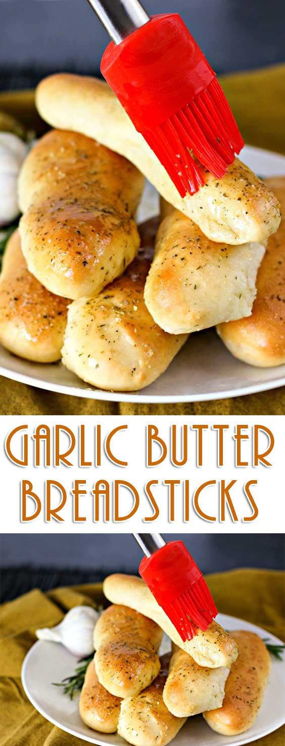 These irresistible and simple Garlic Butter Breadsticks are so light, airy, and crispy, that you will be BEGGED to make them over and over again! #breadrecipe #breadmaking #ontheside