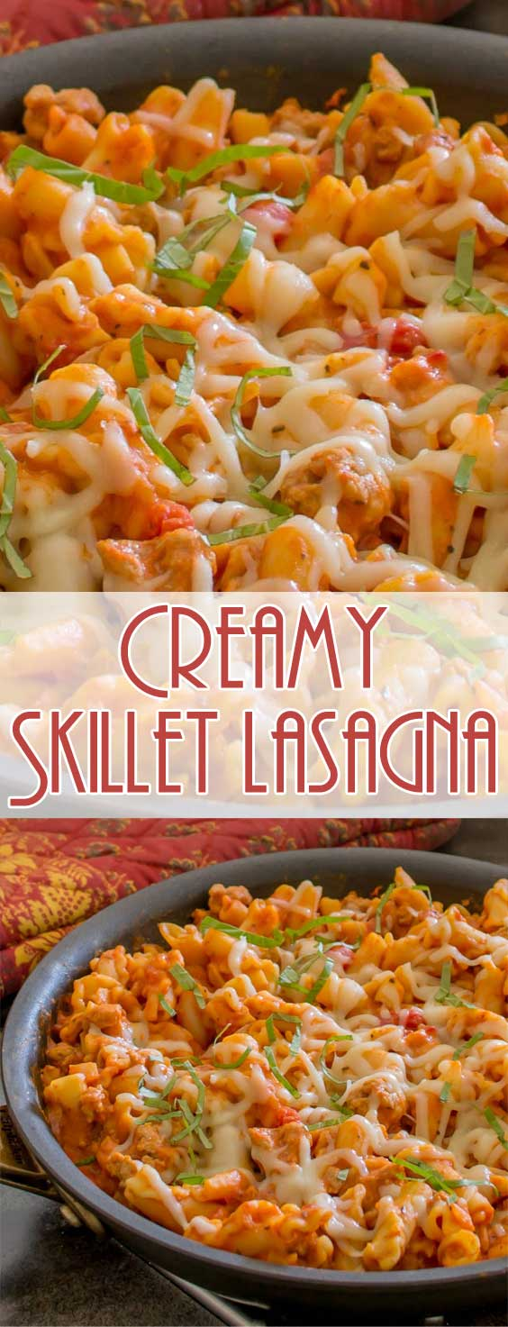 Lasagna takes a some time and effort to prepare. Not so with this Creamy Skillet Lasagna. All the flavors of a lasagna that took hours to make in a fraction of the time! #pastarecipe #comfortfood #easydinner #easyrecipe