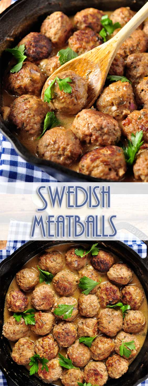 The best Swedish meatballs, made from scratch with an easy and creamy gravy, even better than what you get at IKEA! Make a huge batch of meatballs and keep them in the freezer for a quick meal. #meatballs #comfortfood #dinnerideas