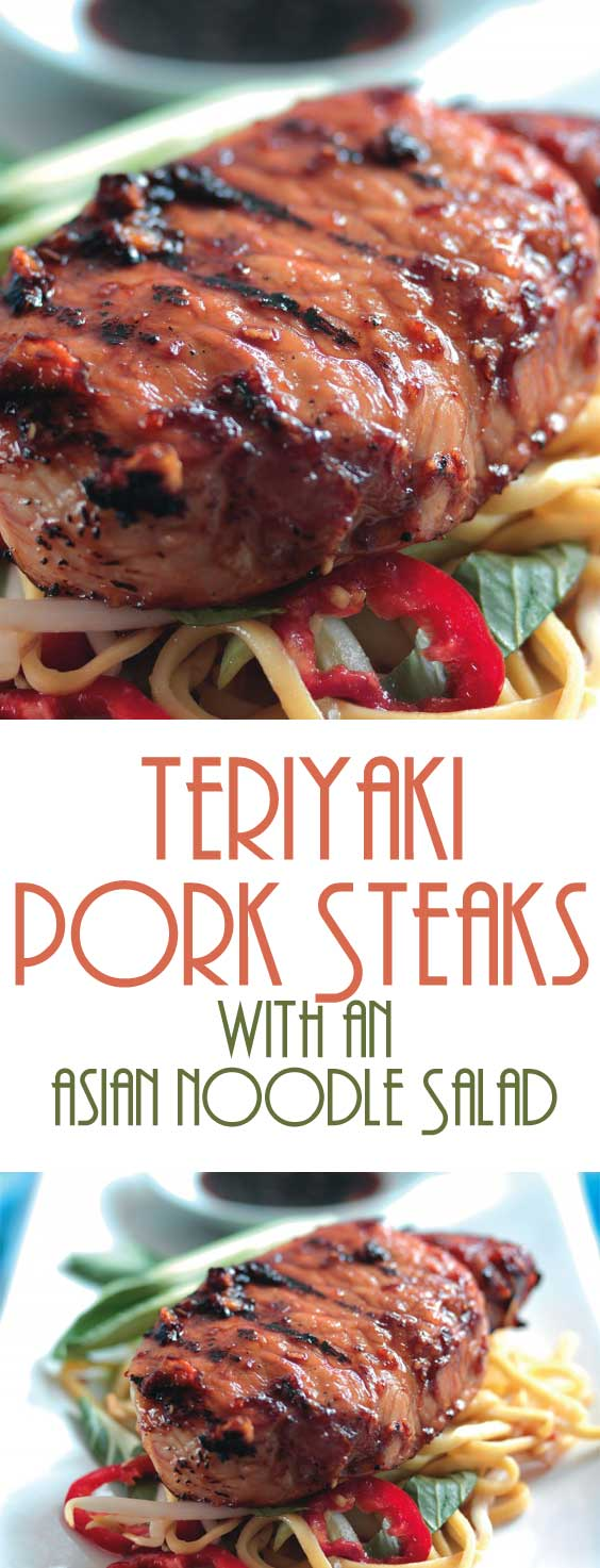 This is a fast, simple, and easy recipe for mouth watering teriyaki pork steaks with an Asian noodle salad. Perfect for when you need to throw something together on a weeknight. #porkrecipe #easydinner #dinnerideas