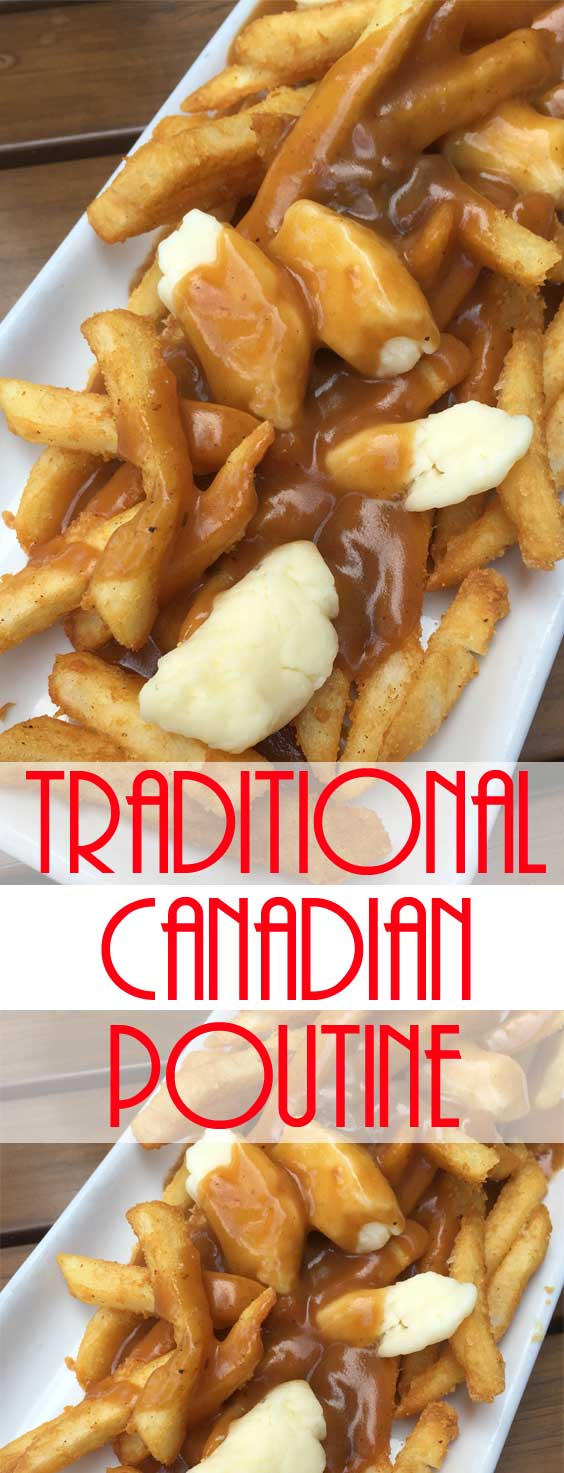 French Fries with Gravy and Cheese Curds - A savory mound of french-fried potatoes topped with beef gravy and fresh cheese curds. Poutine is one the ultimate late-night snacks. #poutine #frenchfries #latenighteats #canadian