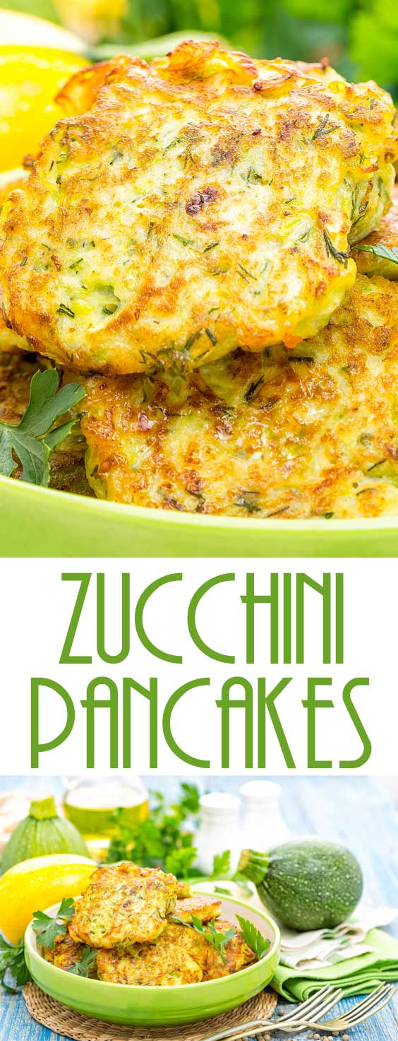 Made with zucchini, these zucchini pancakes are a tasty change of pace from ordinary potato pancakes. #sidedish #vegetablerecipe #zucchinirecipe
