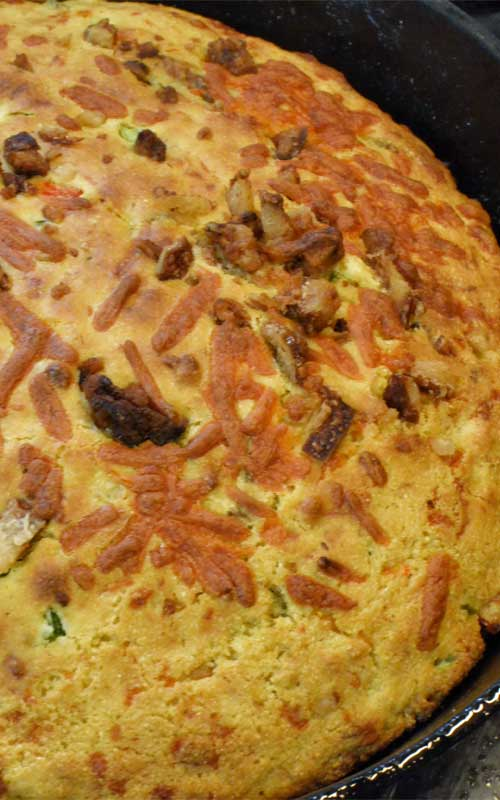 The crispy edges make this Bacon Cheddar Jalapeno Cornbread hard to beat and the perfect side to complete any Southern style meal...and who doesn't love bacon and cheese?