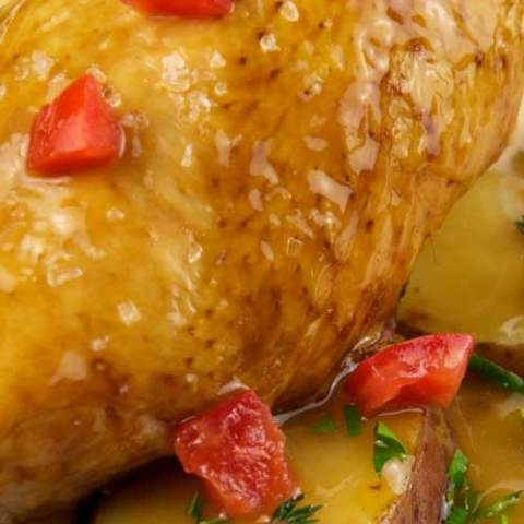 This One Pot Chicken Vesuvio is a classic Chicago restaurant dish: crisp-skinned chicken and deeply browned potatoes in a potent garlic and white wine sauce, just without all the hassle.