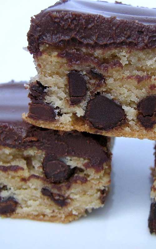Peanut Butter Blondies With Chocolate Ganache