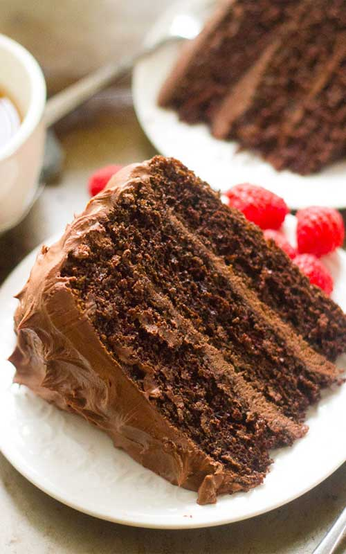 This Chocolate Mocha Layer Cake is without a doubt, this is the best chocolate cake I've ever made! It is perfectly moist, fluffy, and packed with chocolate and coffee flavor.