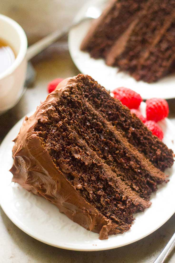 This Chocolate Mocha Layer Cake is without a doubt, this is the best chocolate cake I've ever made! It is perfectly moist, fluffy, and packed with chocolate and coffee flavor. #chocolate #coffee #cake #dessert