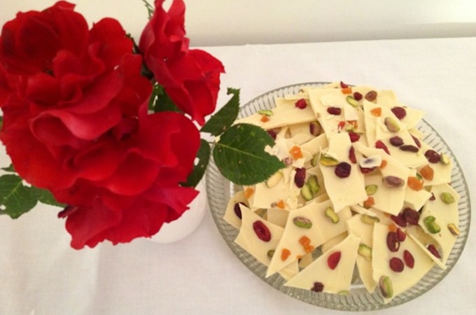 White Chocolate with dried fruits and nuts