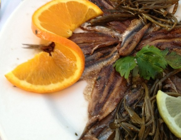 Anchovies on a white plate with an orange slice for a dash of color