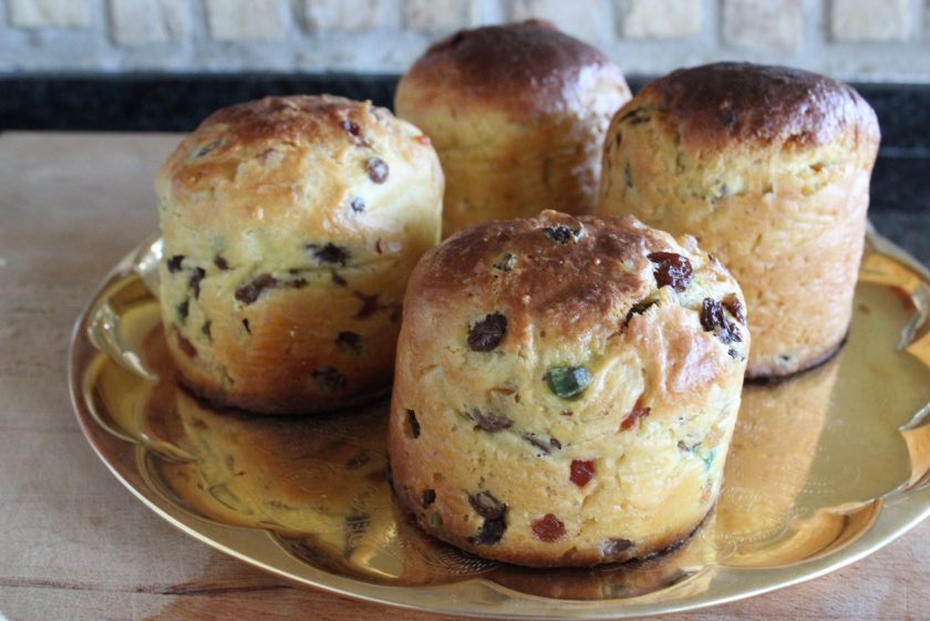 Homemade mini panettone