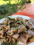 Farro pasta with pioppini mushrooms