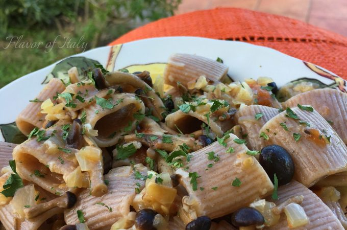 Farro pasta with pioppini mushrooms