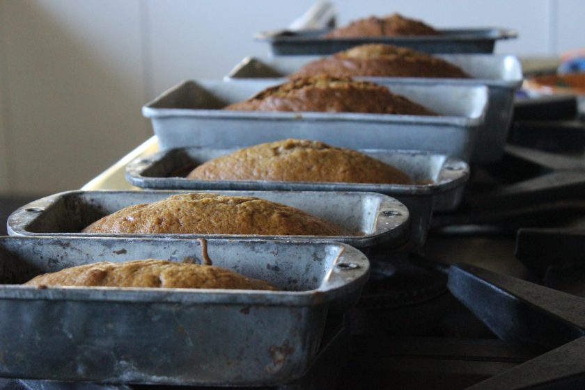 Pumpkin bread loaves fresh out of the oven