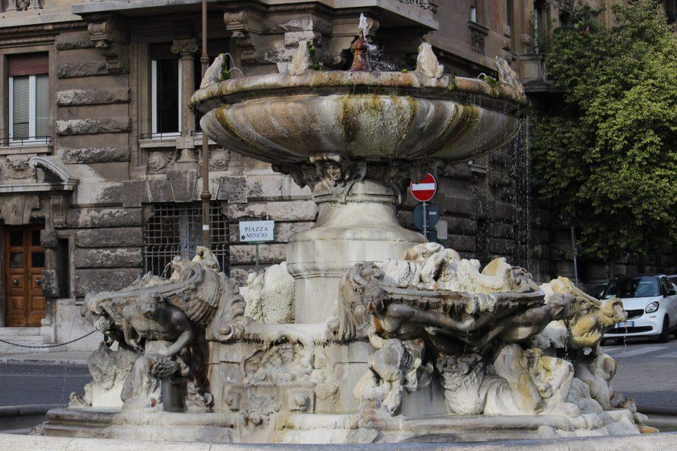 Frog fountain Piazza Mincio Coppedé neighborhood