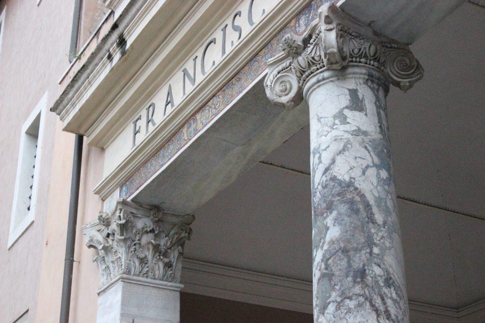 Basilica Santa Cecilia Trastevere portico column decor