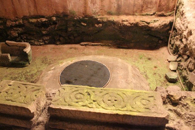 Underground ancient baptismal area within the Basilica Santa Cecilia Trastevere