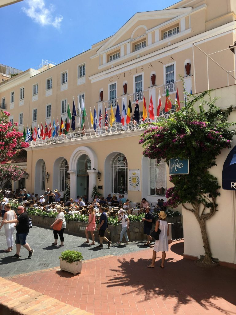 The piazza and the Quisisana Hotel, Capri