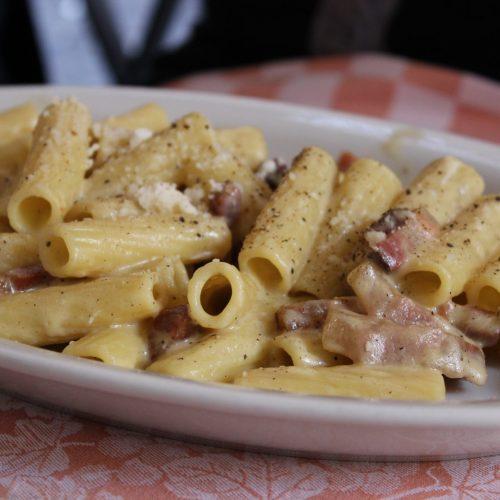 Rigatoni alla carbonara is full of umami flavor