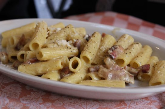 Rigatoni alla carbonara is full of umami flavor