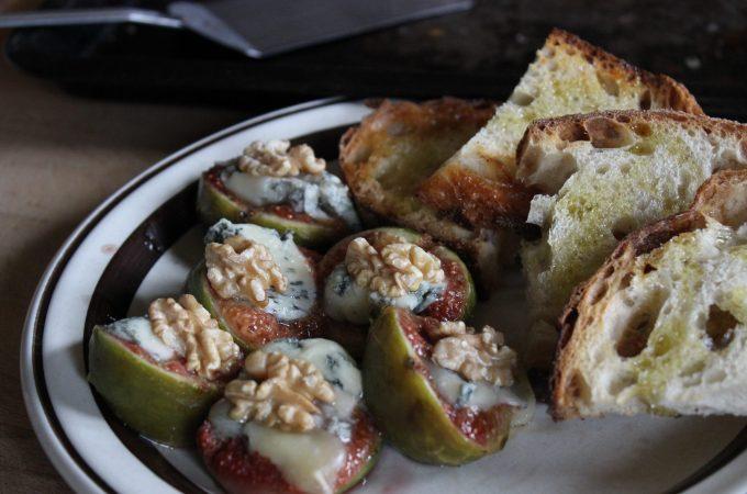Bruschetta with plump oven roasted fresh figs, Gorgonzola and walnuts