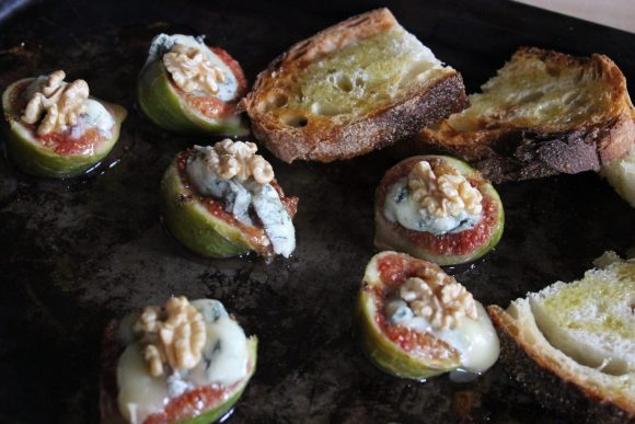 Bruschetta with plump oven roasted fresh figs, Gorgonzola and walnuts