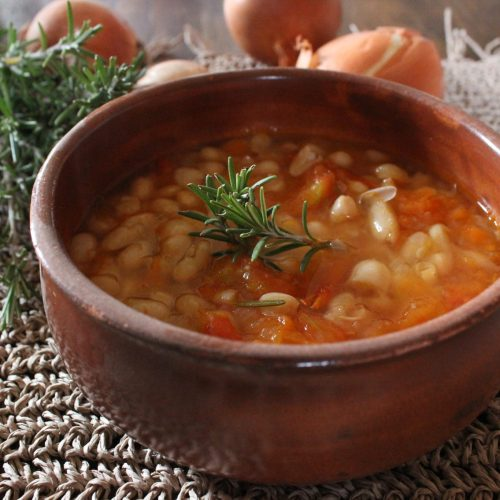 Luscious white bean soup with tomatoes and rosemary makes a delicious and comforting winter soup