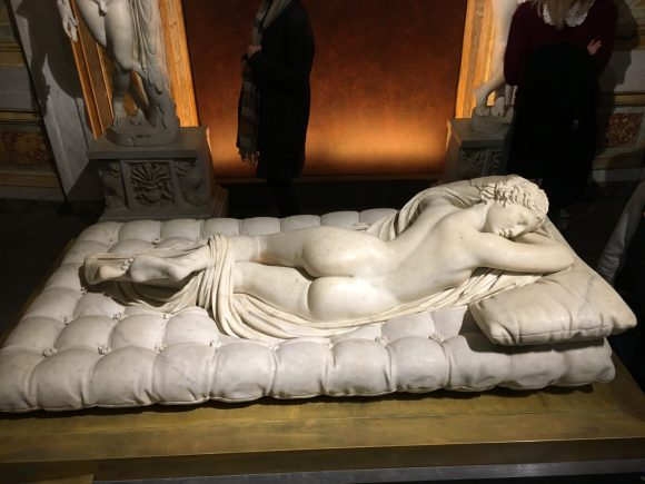 Sleeping Hermaphroditos, Bernini exhibit at the Galleria Borghese in Rome, January 2018