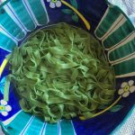Luscious homemade green fettuccine thanks to the addition of some finely minced wild stinging nettle