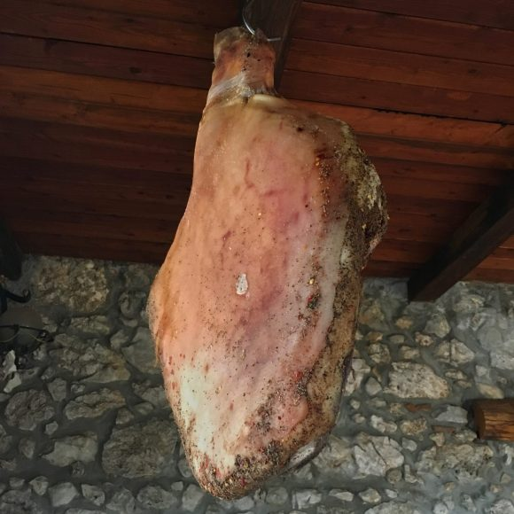 Prosciutto at Pecorino cheese producer in the Cesanese wine producing area near Anagni