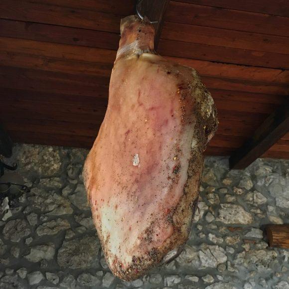 Prosciutto at Pecorino cheese producer in the Cesanese wine producing area near Anagni