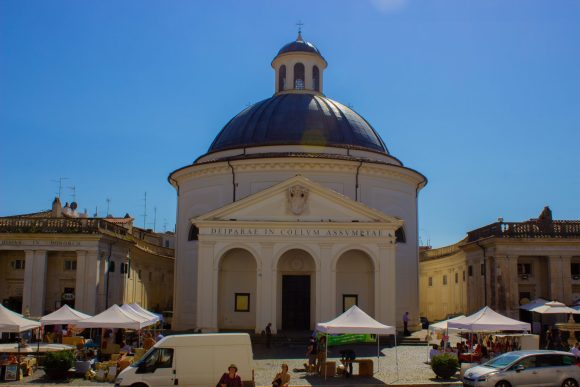 Santa Maria Assunta church, designed by Bernini, in the center of Ariccia