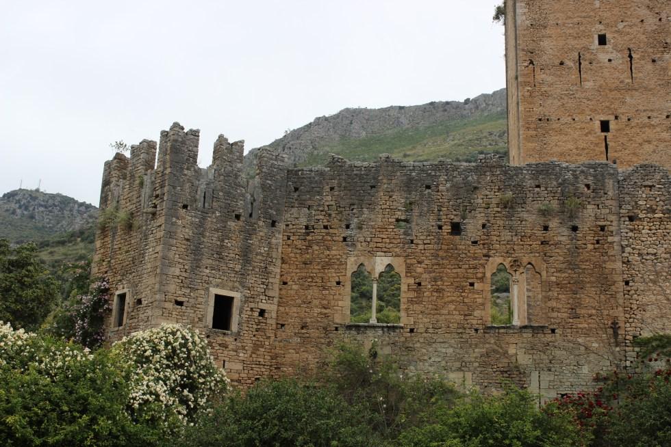 Beautiful Caetani property ruins and flowers in Ninfa Gardens