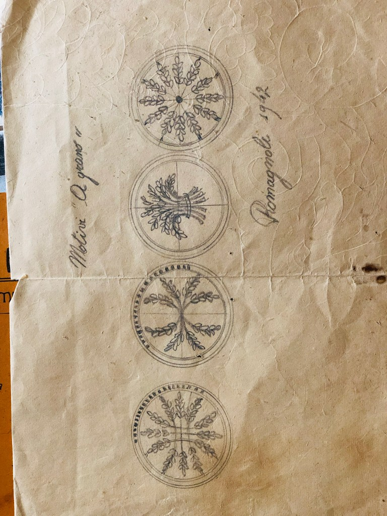 Romagoli Pasta Tools pencil and paper designs for corzetti from 1942