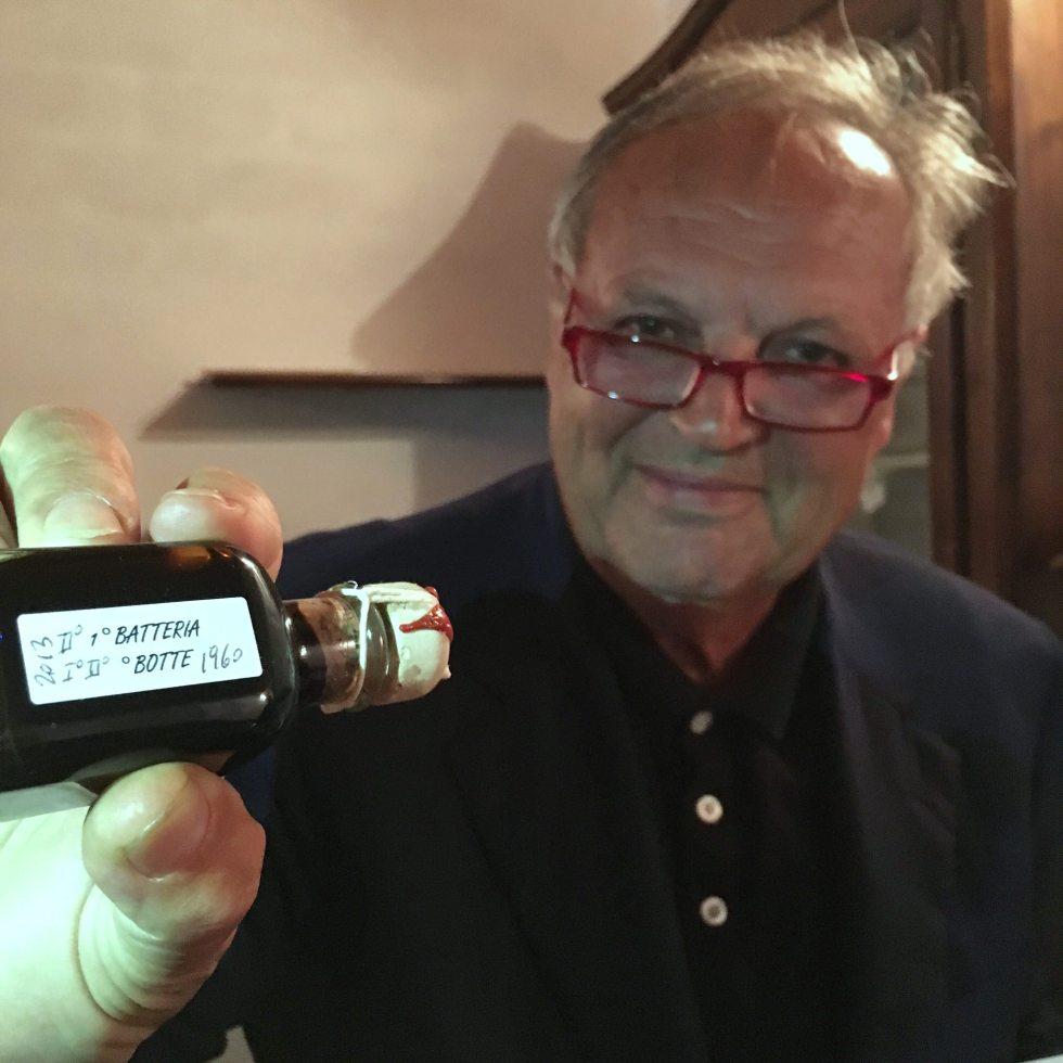 small bottle of home produced traditional balsamic vinegar bottled back in 1960