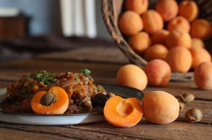 Chicken and apricot tagine with prunes and preserved lemons