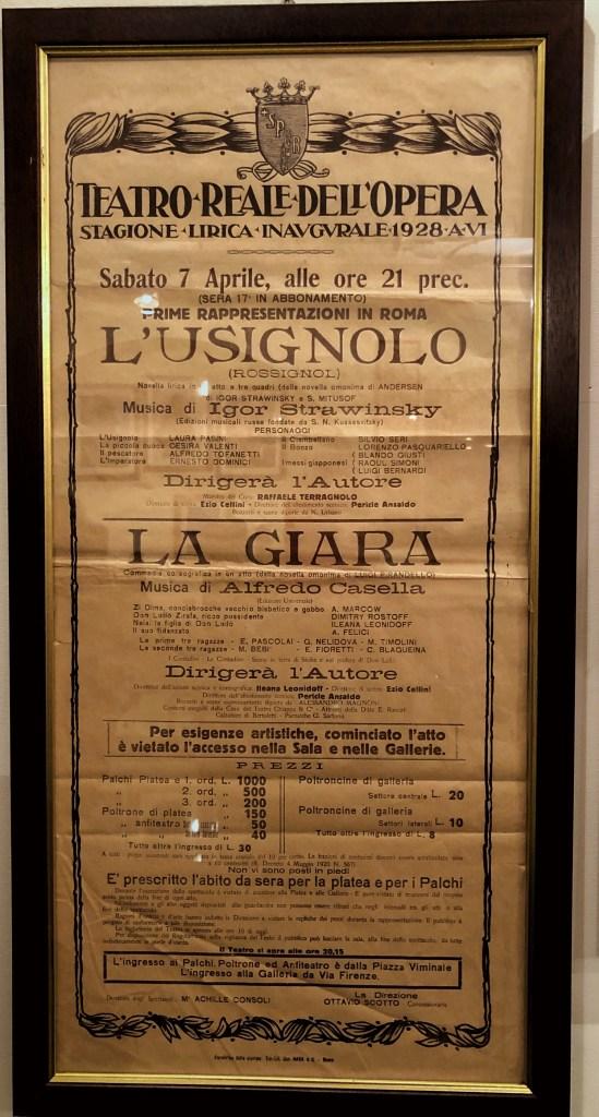 Rome Opera House program from 1928