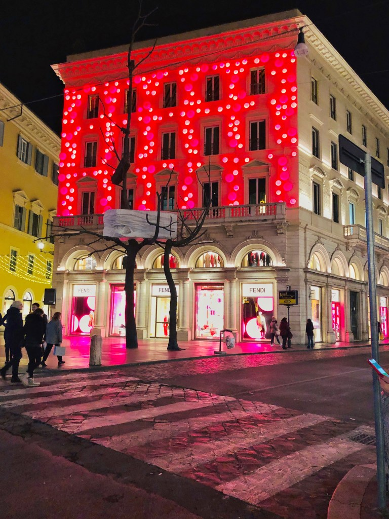 Fendi Christmas decor 2019 on Rome's Via del Corso