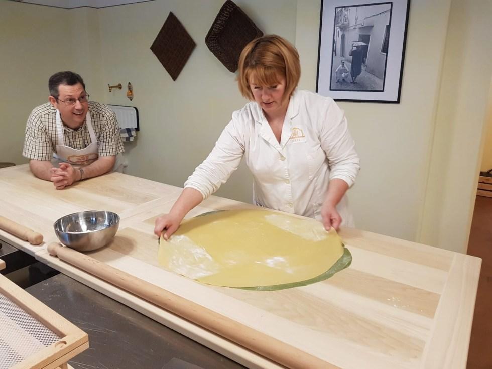 Julia Griner from Grano & Farina Cooking School rolling out a pasta sfoglia