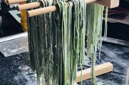 Stinging nettle spaghetti adds gorgeous green color to any pasta dish!