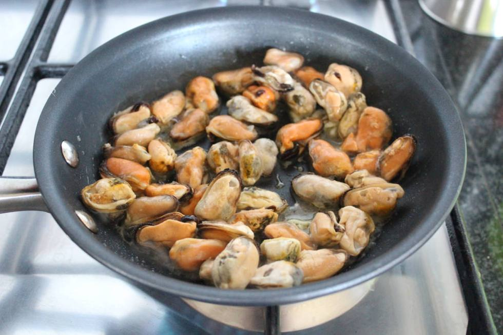 Cooked mussels out of the shell