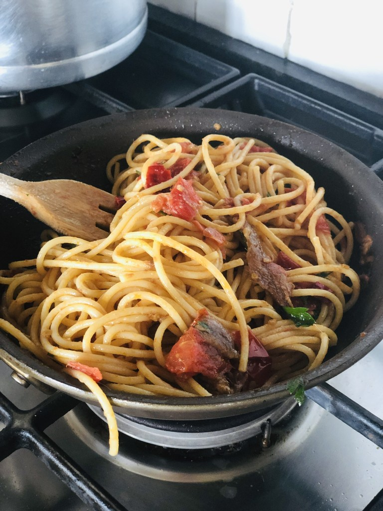 Spaghetti with a Spicy Tomato Anchovy Sauce
