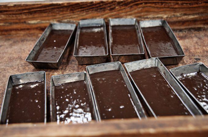Preparing chocolate bars in Monica, Sicily
