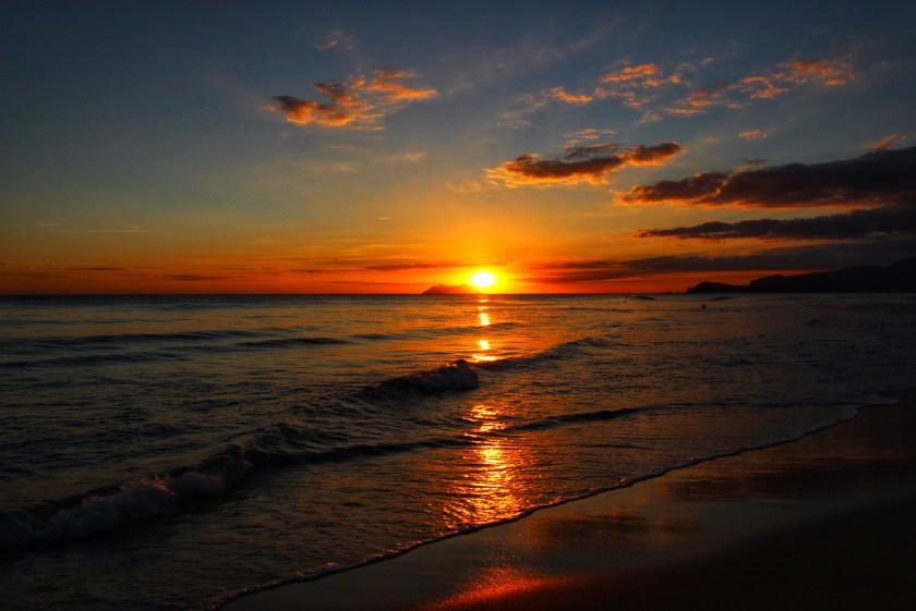 A wonderful beach in Italy, Sperlonga, at sunset