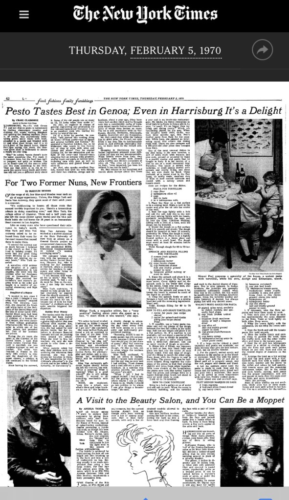 1970 New York Times article featuring Gianni Peri and his recipes